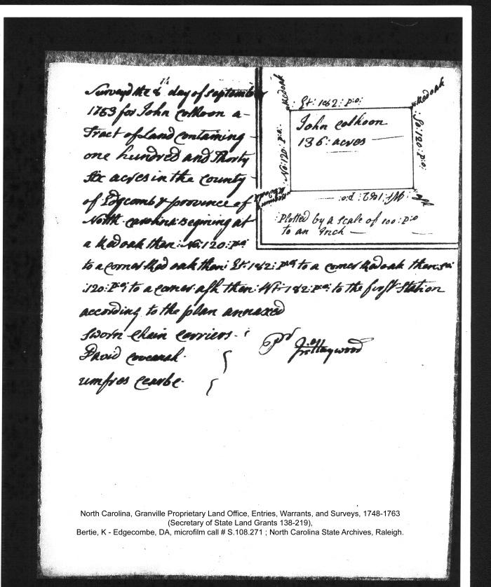 John Colhoon Granville Grant plat 1753